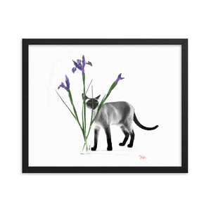 Framed Siamese Cat Sashimi Behind Irises