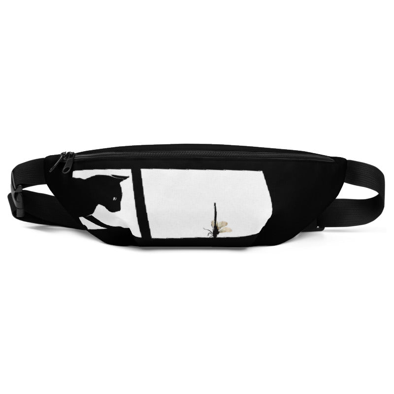Black Cat with DragonFly Fanny Pack