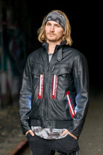 Load image into Gallery viewer, Black Leather L.E.D. Jacket