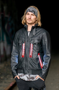 Black Leather L.E.D. Jacket