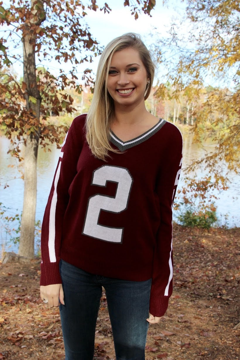 Texas AM  #2 Unisex Knit College Jersey Sweater