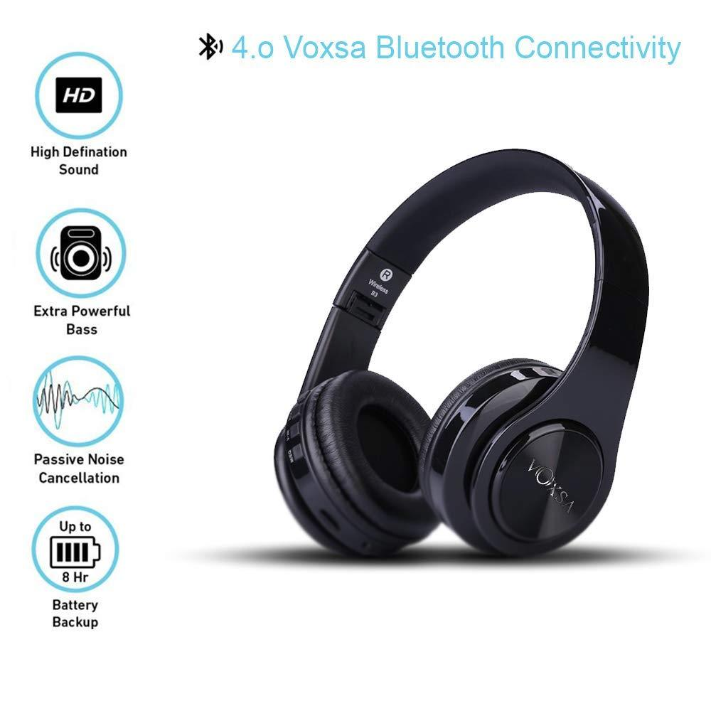 VOXSA Wireless bluetooth earphone 4 in 1 Bluetooth 3.0 + EDR Headphones with MP3 Player FM radio Micphone for Smart Phones (Black) - Stabeto