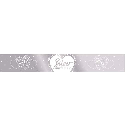 Creative Party J054 25th Anniversary Silver Foil Banner-1 Pc