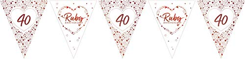Creative Party J049 Ruby Anniversary Foil Stamped Paper Flag Bunting-1 Pc