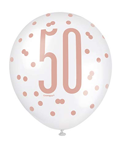 "Unique Party 84919 84919-12"" Latex Glitz Rose Gold 50th Birthday Balloons, Pack of 6, Age 50"