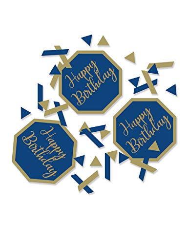 Creative Party J023 Blue and Gold Geode Happy Birthday Confetti-1 Pc