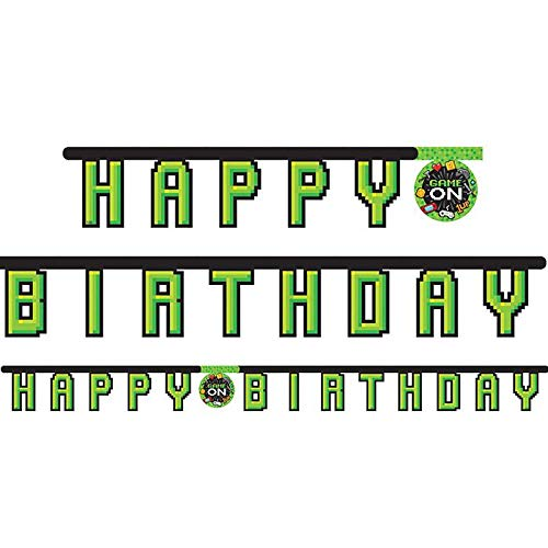 Creative Party PC336671 Video Party Game On Happy Birthday Jointed Banner-1 Pc, Green