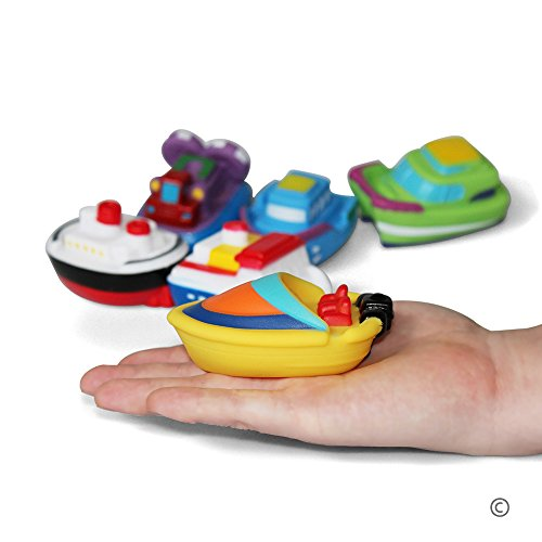 JUNSHEN Bath Toys Floating Bath Boat Toys(6PCS),Baby Soft Bath Time Toys,Bathtub Learning Bathtub Pool Toys and Soft Bath Toys for Toddlers