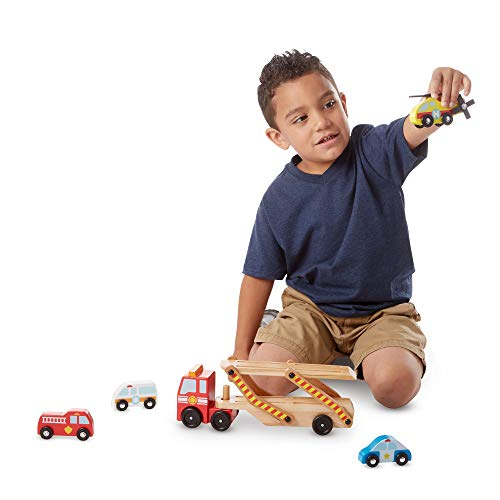Melissa & Doug Emergency Vehicle Carrier | Wooden Vehicles & Trains | Trucks & Vehicles | 3+ | Gift for Boy or Girl