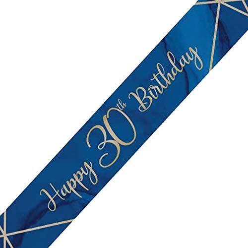 Creative Party J035 Blue and Gold Happy 30th Birthday Foil Banner-1 Pc
