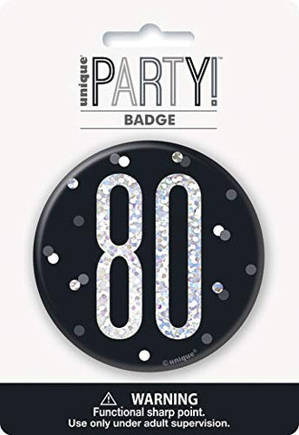 "Unique Party 83513 83513-3"" Glitz Black & Silver 80th Birthday Badge, Black, Age 80"