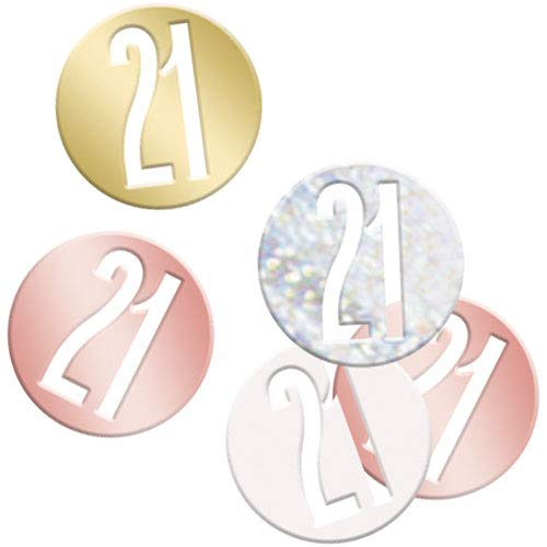 Unique Party 84947 84947-Glitz Rose Gold 21st Birthday Confetti, Age 21