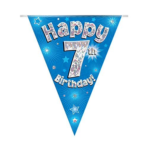 OakTree Happy 7th Birthday Blue Holographic Foil Party Bunting 3.9m Long 11 Flags