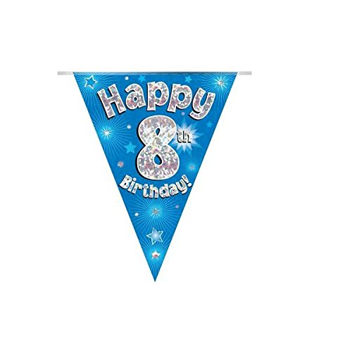 Happy 8th Birthday Blue Holographic Foil Party Bunting 3.9m Long 11 Flags