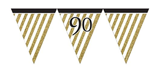 Creative Party M277 Gold Stripes & Black 90 Paper Pennant Banner-1 Pc