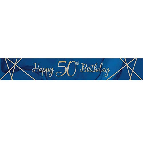 Creative Party J037 Blue and Gold Happy 50th Birthday Foil Banner-1 Pc