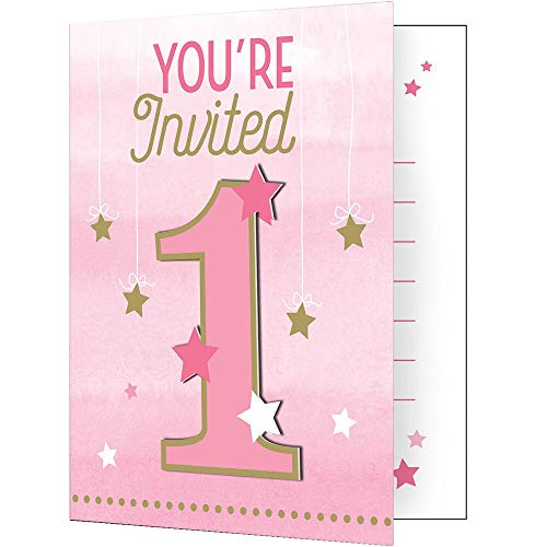 Creative Party PC322268 Pink Twinkle Little Star 1st Birthday Foldover Invitation Cards Set-8 Pcs
