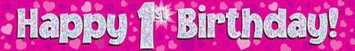 "OakTree 624337"" Happy 1st Birthday Foil Holographic Banner, Pink/BPWFA-3938, 9 ft"