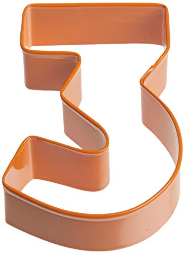 Creative Party K1463/O Orange Number 3 Poly-Resin Cookie Cutter-1 Pc, Steel