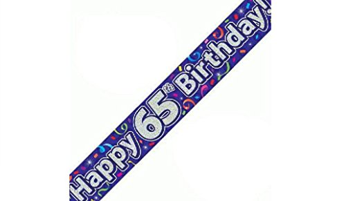 Happy 65th Birthday Purple Holographic Banner 2.7m Long