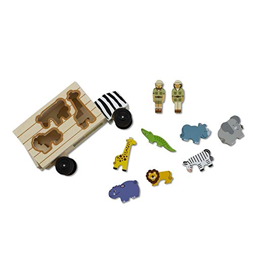 Melissa & Doug Animal Rescue Shape-Sorting Truck - Wooden Toy With 7 Animals and 2 Play Figures