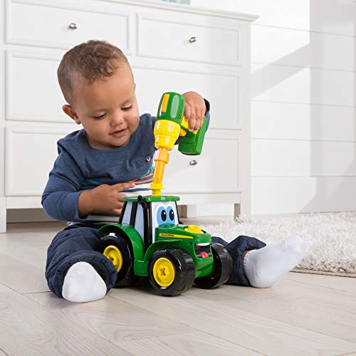 John Deere Build A Johnny Tractor | 16 Piece Building Farm Toy Car | Tractor Toy With Motorised Drill For 18 Months, 2, 3 & 4 Years Old Boys & Girls