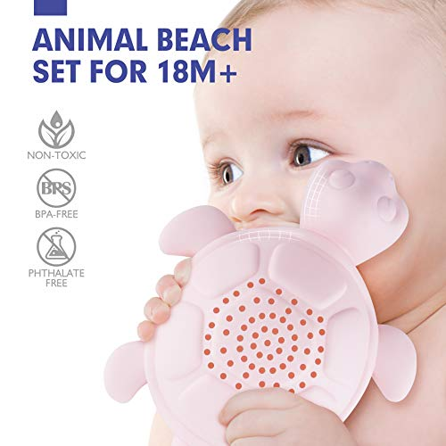 CubicFun Beach Toys Play Sand Toys for Toddlers Baby Bath Toys Animal Bucket and Spade Set Water Beach Toys for Kids Girls Boys 1 2 3 Year Old Play Sand for Kids- 7 Pcs