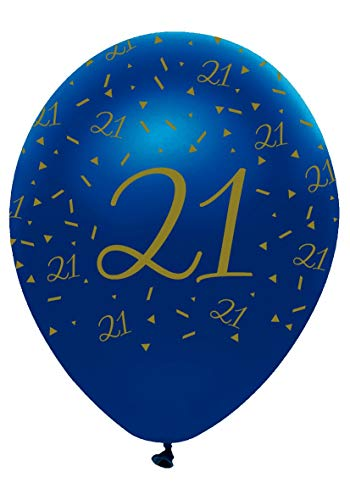 Creative Party Pack of 6 Navy & Gold Helium/Air Latex Balloons - Age 21/21st Birthday