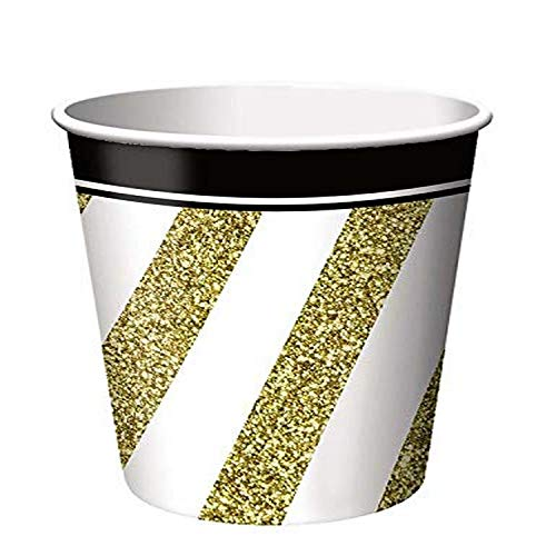 Black and Gold Disposable Paper Cups, 9 oz. - 8 Pcs.