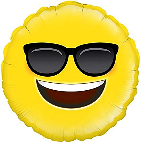 "18"" Cool Emoji Sunglasses Design Foil Party Balloon"