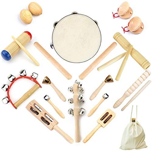 Ulifeme Musical Instruments, Wooden Percussion Instruments for baby, Kids and Toddler, Children's 23pcs Pure Wood Toys Set, Premium Percussion Rhythm Kit, Girls & Boys Gift, Pure Cotton Bag Packed