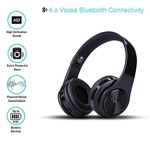 Noise Cancelling Headphones, VOXSA Bluetooth Headphones, Wireless Over Ear Headset with 25 hour playtime, Foldable Earphones - Stabeto