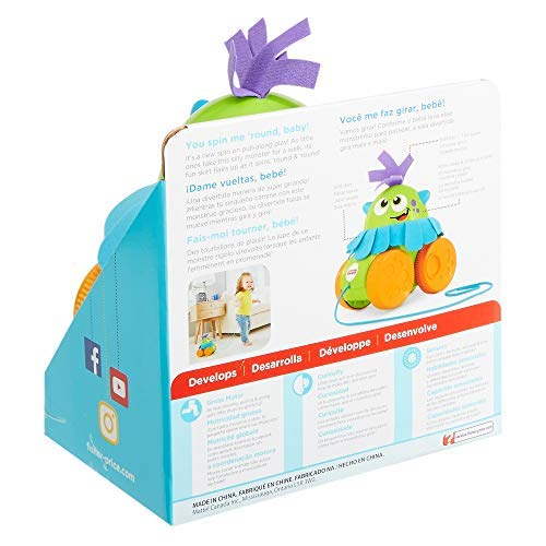 Fisher-Price FHG01 Walk and Whirl Monster, Toddler Pull Along Toy with Colours and Textures, Suitable for 1 Year Old