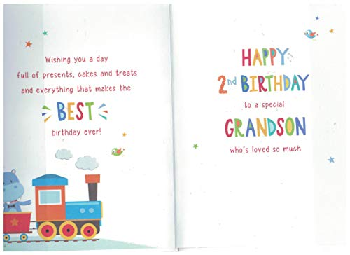 Juvenile Birthday Card Age 2 Grandson - 9 x 6 inches - Regal Publishing