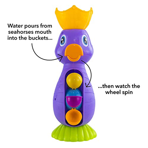Nuby Bath Toy Seahorse Wheel Spinner with Pouring Cup