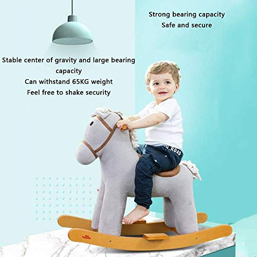 YYSDH Rocking Horses Rocking Horse with 47 Music,boy&Girl Rocking Animal 29.9 × 12.5 × 24.8inch,Wooden Rocking Horse 1-6 Year Old Kids Toys 、Birthday Gift (Color : Gray)