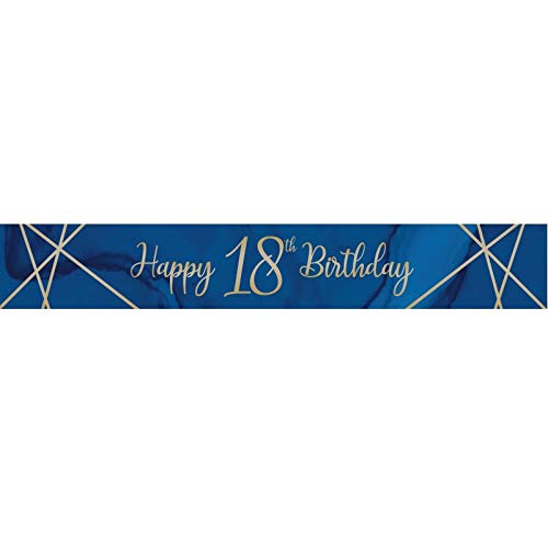 Creative Party J033 Blue and Gold Happy 18th Birthday Foil Banner-1 Pc