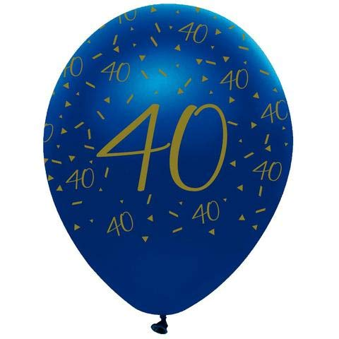 "Creative Party RB331 Blue and Gold 40"" Latex Balloons-6 Pcs"
