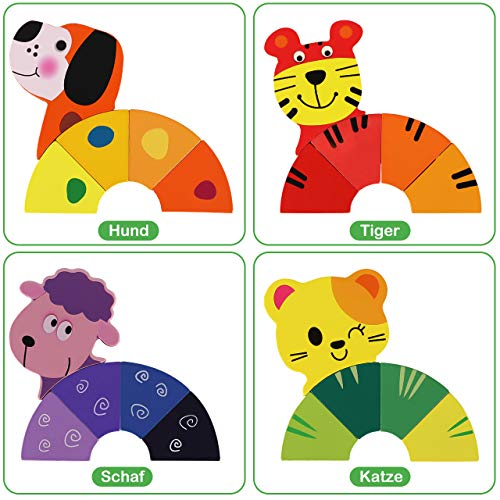 XDDIAS Wooden Jigsaw, 4 Pack Wooden Puzzles Set Educational Learning Toys for Children 1 2 3 Year Old Kids Girls Boys Toddlers - Animal