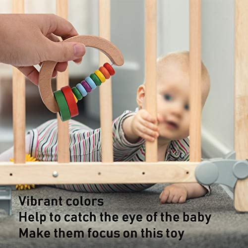 4pcs Baby Rattle Clutching Toy, Infant Safe Wooden Grasp Toy Infant Early Educational Musical Instrument Puzzle Toys for Toddlers Boys and Girls 1 Year Olds +