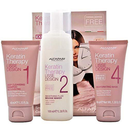 Alfaparf Lisse Design Express Keratin Therapy Kit (Shampoo 40 ml + Smoothing Fluid 100 ml + Mask 40 ml) - Stabeto