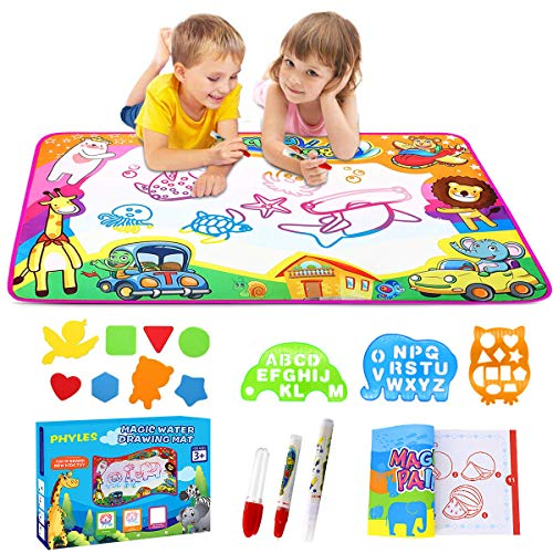 PHYLES Water Drawing Mat, Super Rainbow Deluxe Water Magic Mat, No Mess Colouring & Drawing Game, Birthday Gifts & Educational Toys For 3 4 5 6 Year Old Boys Girls Toddlers, 87X57cm Saving Space