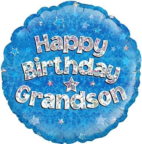 "Happy Birthday Grandson Blue Holographic Round Foil Balloon 45cm (18"")"