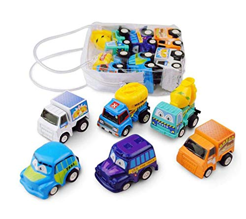 sunnymi Mini Cartoon Car, Inertial Car Pullback Car Truck Engineering Vehicle Toys For Child 1 Years And More 6 Pcs/Set