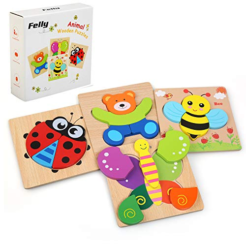 Felly Wooden Toys - 4 Pack Jigsaw Puzzles for Toddlers 1 2 3 Years Old, Boys & Girls Educational Toys Gift with 4 Animals Patterns, Bright Vibrant Color Shapes of Animal