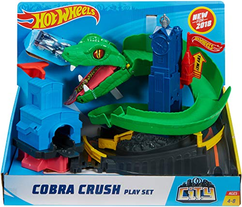 Hot Wheels FNB20 City Cobra Crush Connectable Play Set with Diecast and Mini Toy Car