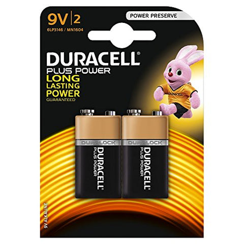 Duracell MN1604 Plus Power 9v Batteries, 2 Batteries