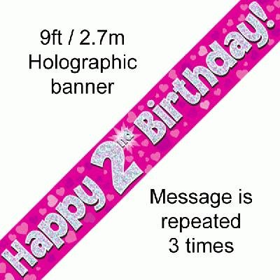 "OakTree 624344"" Happy 2nd Birthday Foil Holographic Banner, Pink/BPWFA-3939, 9 ft"