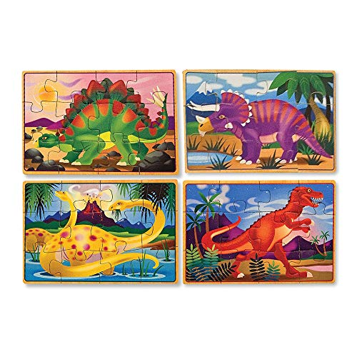 Melissa & Doug Dinosaurs Puzzles in a Box | Puzzles | Wooden Toy | 3+ | Gift for Boy or Girl