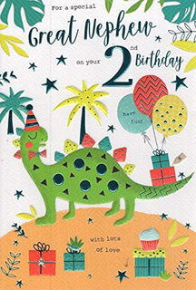 Great Nephew 2nd 2 Today Dinosaur & Gifts Design Happy Birthday Card